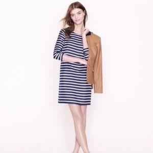 J.Crew Navy White Stripe Silk Tunic Shift Dress 0